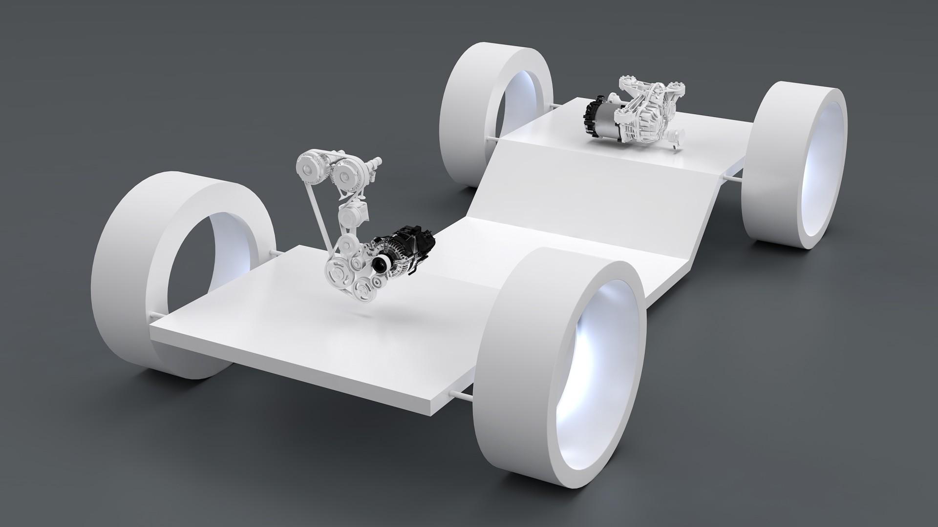 Messeexponat kombiniert 48V P0 Boost Recuperation Machine mit 48V P4 E-Motor