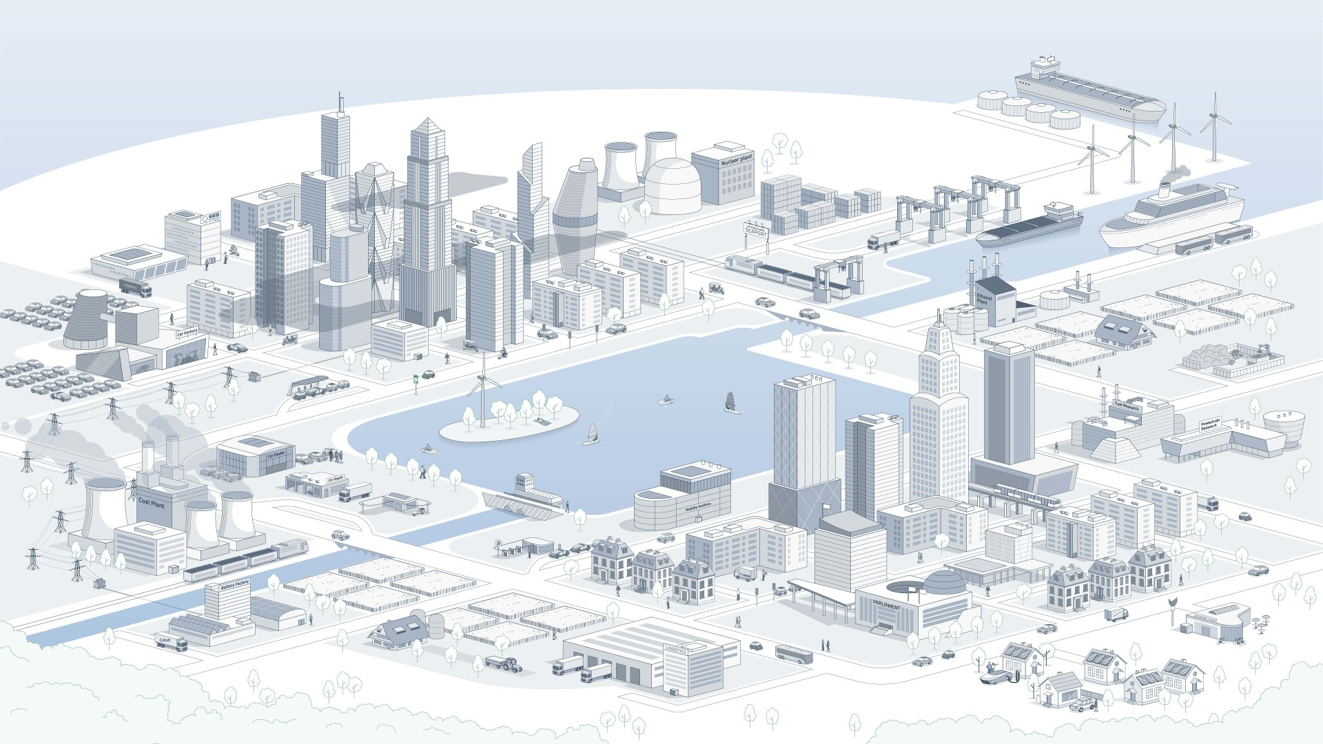 Graphic city visualizes transformation of the automotive industry